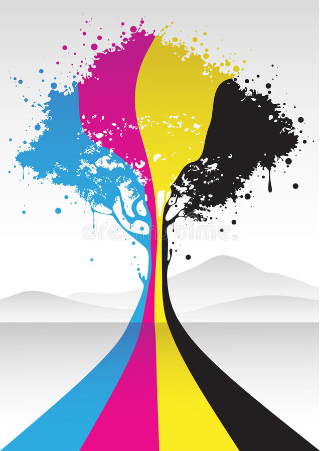 Cmyk color tree royalty free stock photography