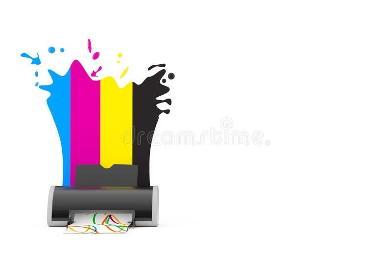 CMYK colore derrière l'imprimante à jet d'encre de Digital rendu 3d illustration libre de droits