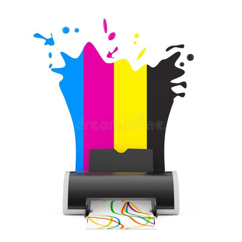 CMYK colore derrière l'imprimante à jet d'encre de Digital rendu 3d illustration stock