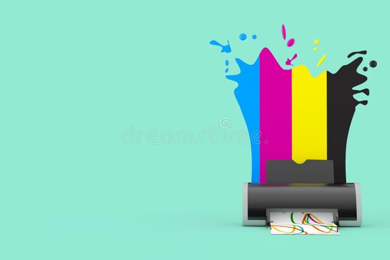 CMYK colore derri?re l'imprimante ? jet d'encre de Digital rendu 3d illustration libre de droits