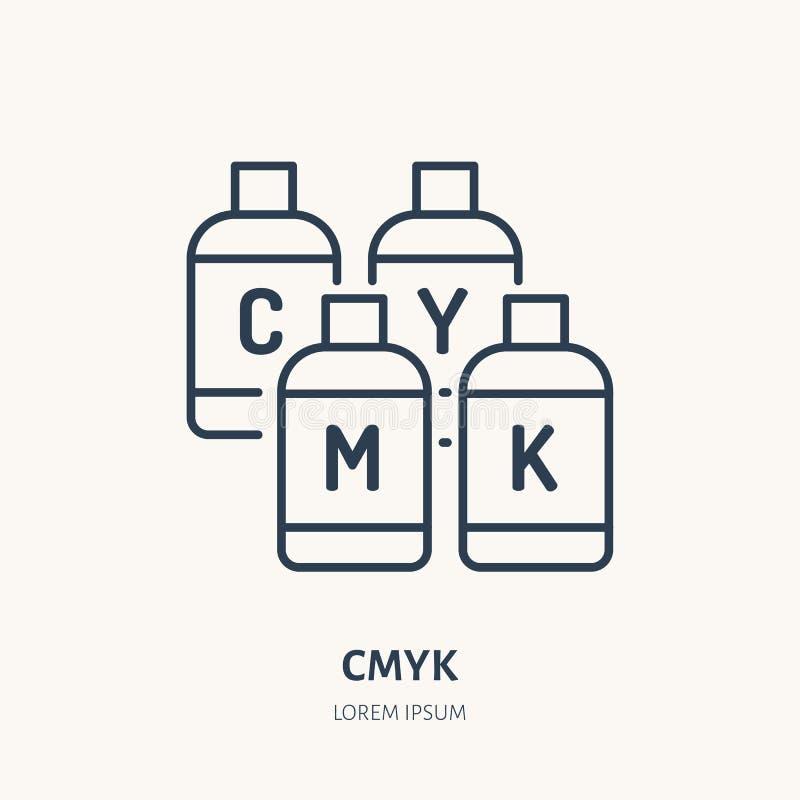CMYK colorea la línea plana icono Pinte la muestra de los cubos de la impresora Logotipo linear fino para el printery, estudio de ilustración del vector