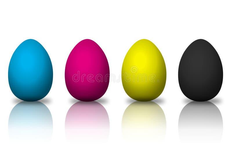 CMYK colored eggs stock illustration