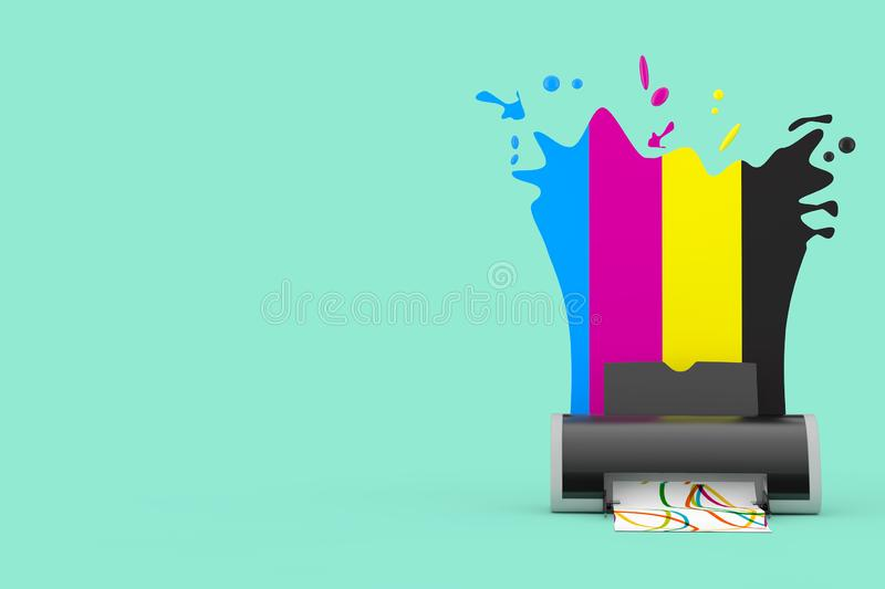 CMYK Colors behind Digital Inkjet Printer. 3d Rendering royalty free illustration