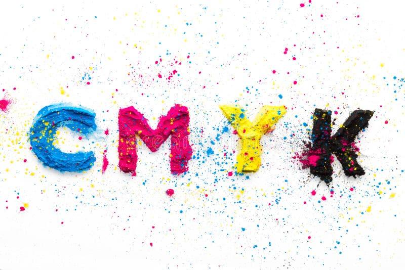 CMYK colour toner for printer cyan magenta yellow. On white background stock image