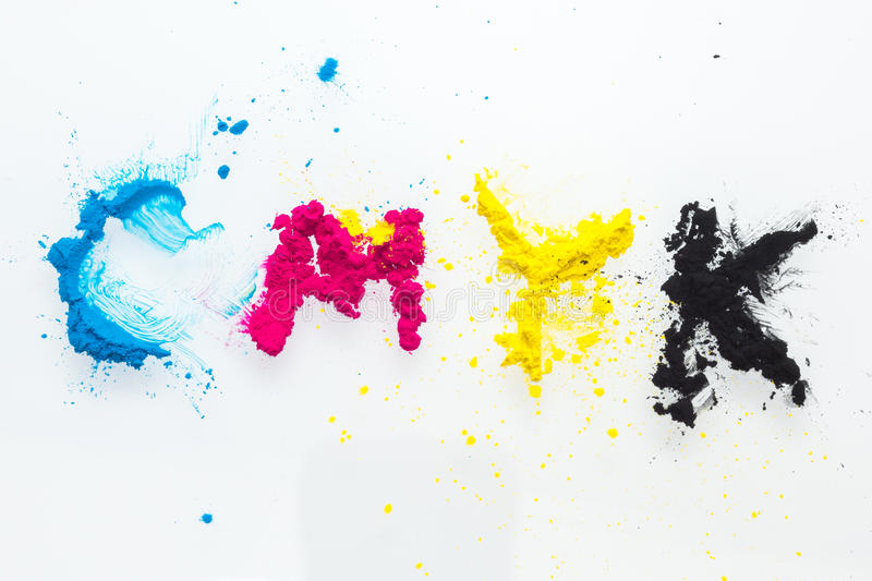 CMYK colour toner for printer cyan magenta yellow. On white background stock photos