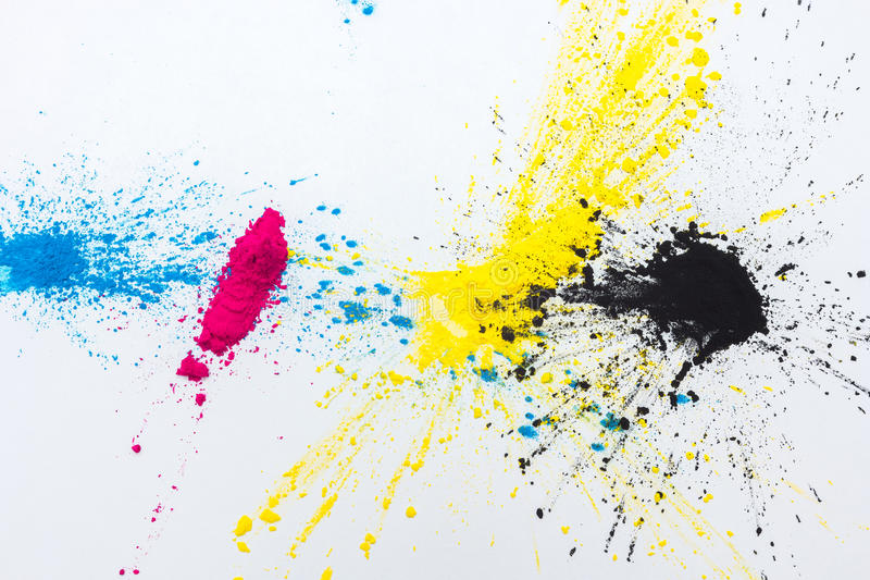 CMYK colour toner for printer cyan magenta yellow. On white background stock photography