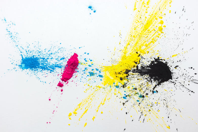 CMYK colour toner for printer cyan magenta yellow. On white background royalty free stock photography