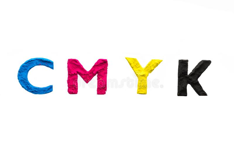 CMYK colour toner for printer cyan magenta yellow stock photography