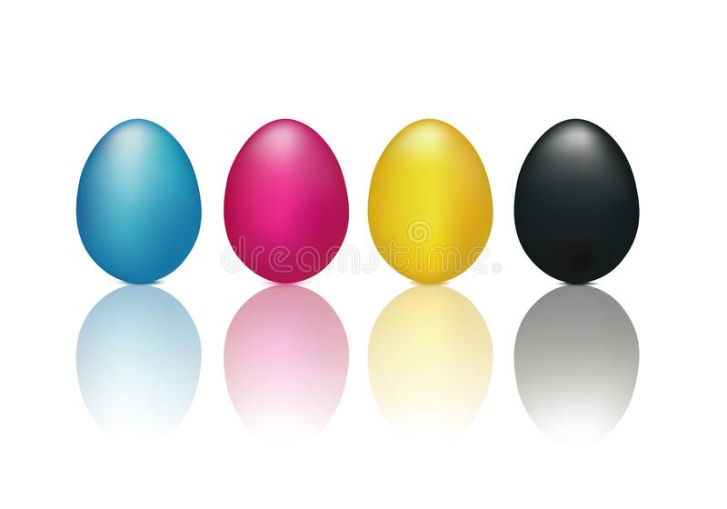 CMYK concept with 3d eggs isolated cyan magenta yellow and black. Reflected on glass royalty free illustration