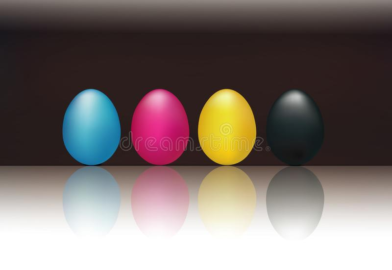 CMYK concept with 3d eggs cyan magenta yellow and black. Black background. CMYK concept with yellow cyan magenta eggs reflected on glass. Black background vector illustration