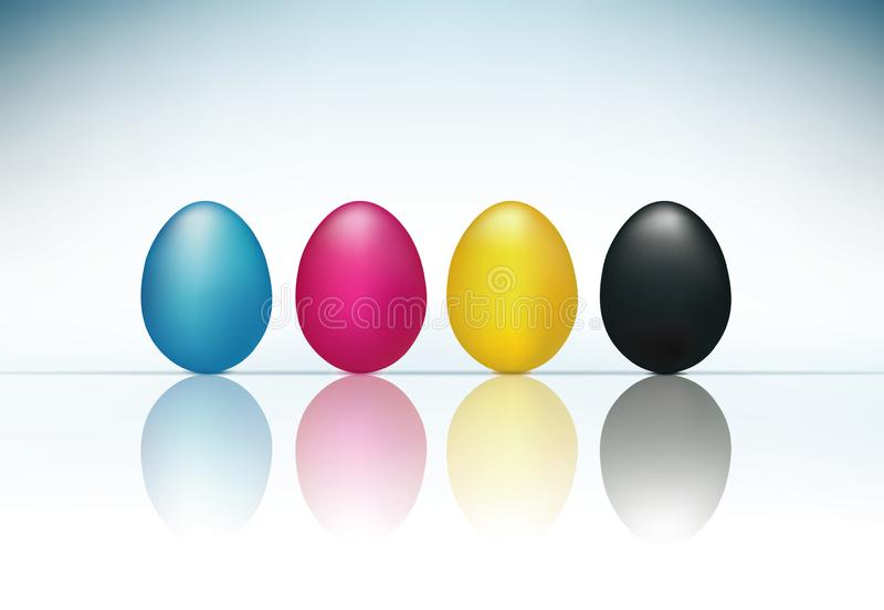 CMYK concept with 3d eggs cyan magenta yellow and black. CMYK concept with yellow cyan magenta eggs reflected on glass vector illustration
