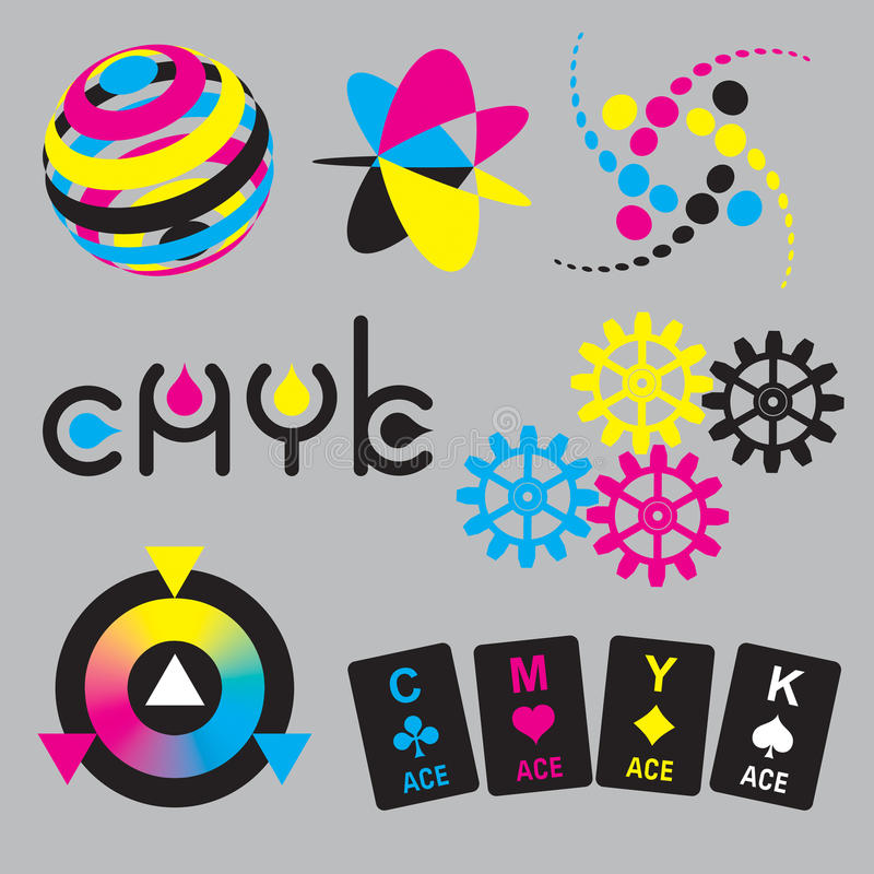 CMYK concepts and design elements royalty free illustration