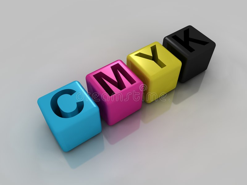 CMYK cubes. Each in corresponding color. Computer render stock illustration