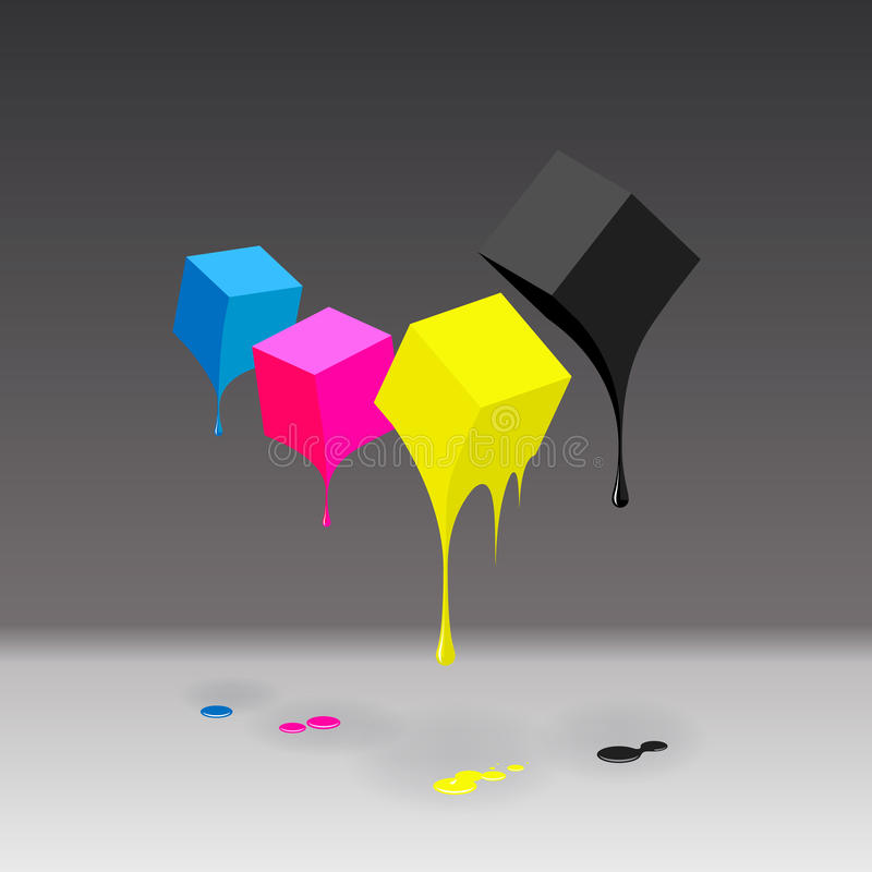 CMYK cubes with blobs on grey background. CMYK cubes with blobs background, EPS10 illustration vector illustration