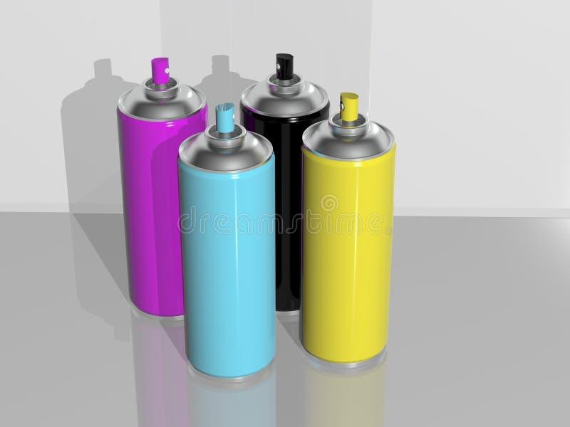 Cmyk de la pintura de aerosol stock de ilustración
