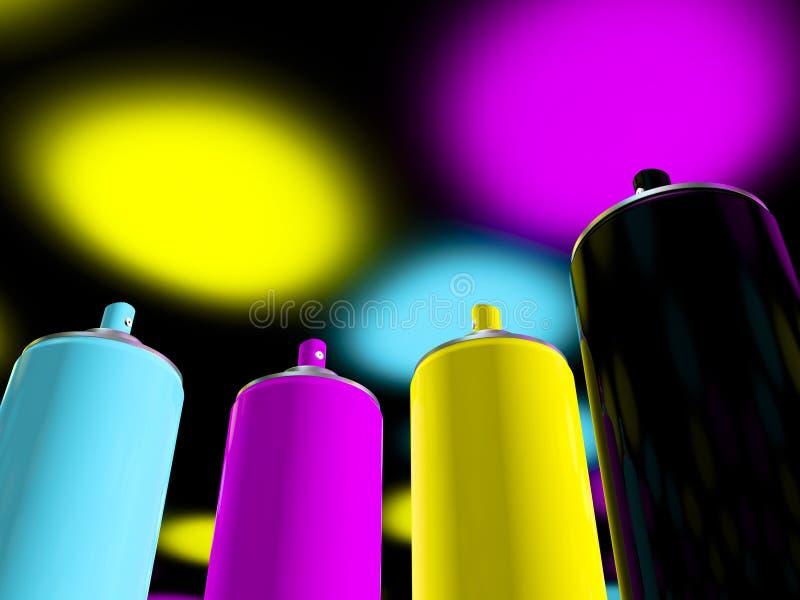 Cmyk de la pintura de aerosol libre illustration