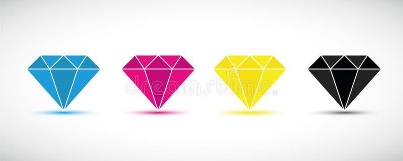 CMYK-Diamantprimärfarbdruck vektor abbildung