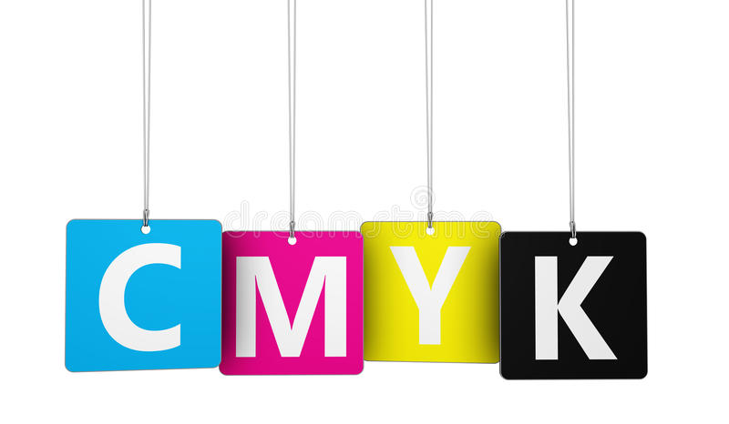 Cmyk Digital Offset Printing Concept stock illustration