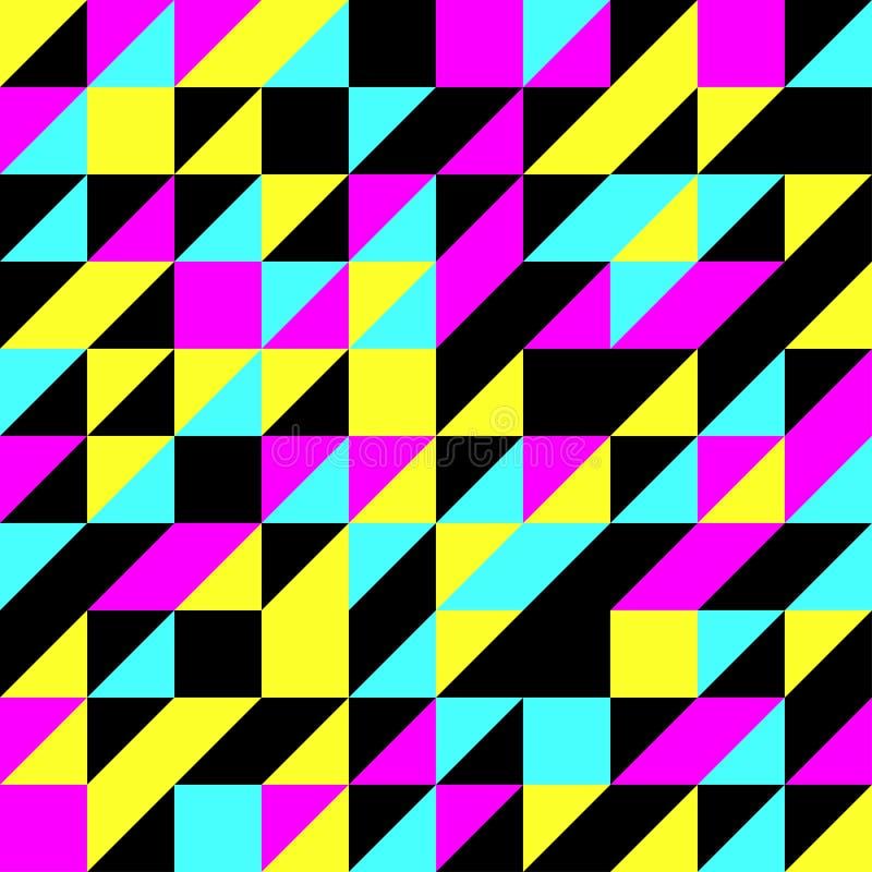 CMYK-Dreieck-Muster-Vektor-nahtloser Hintergrund stockfoto