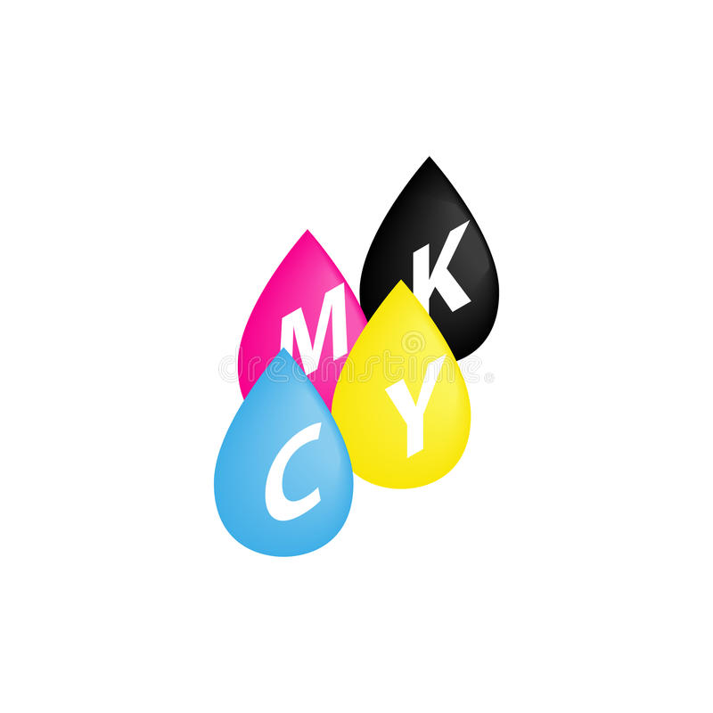 CMYK drops icon in isometric 3d style vector illustration