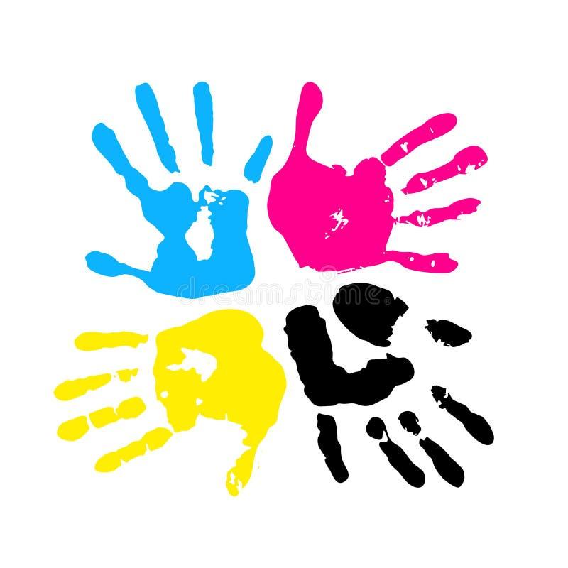 CMYK-färg. Handprint stock illustrationer