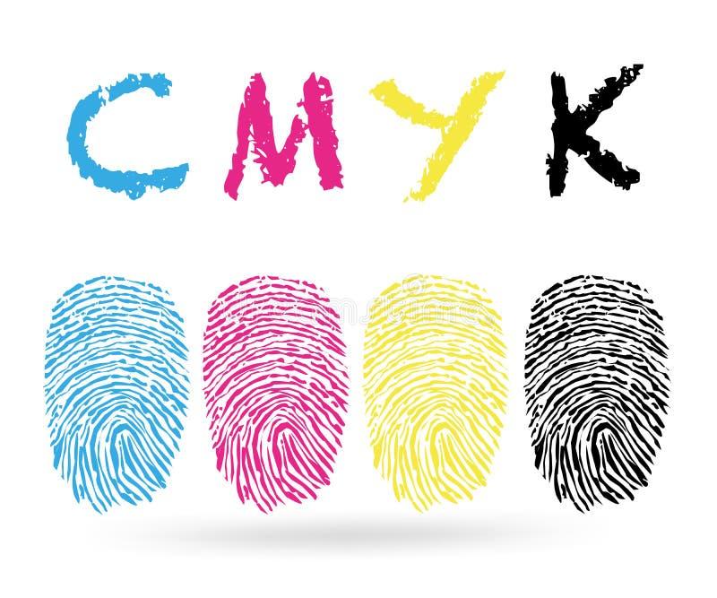 Cmyk färger med fingeravtryckvektorn stock illustrationer