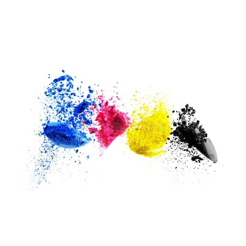 CMYK-färgfärgpulver för cyan magentafärgad gulingsvart för skrivare arkivbild