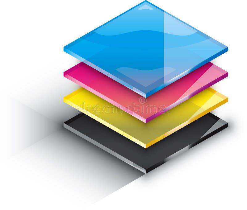 CMYK-färglager stock illustrationer