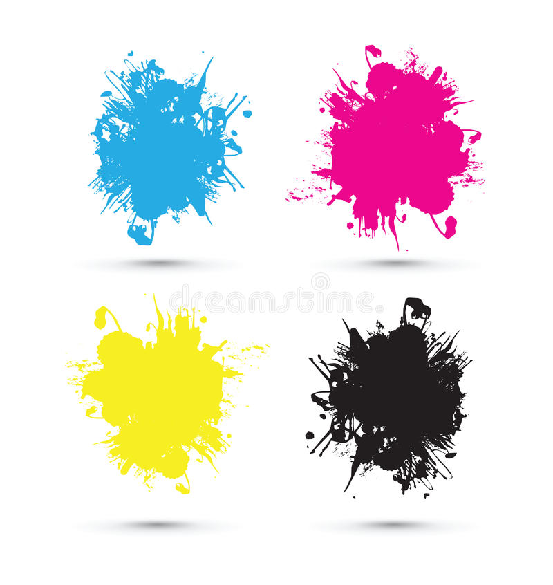 Cmyk färgstänk royaltyfri illustrationer