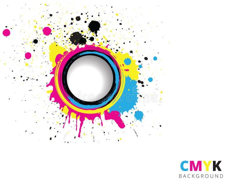 CMYK-färgstänkbakgrund stock illustrationer