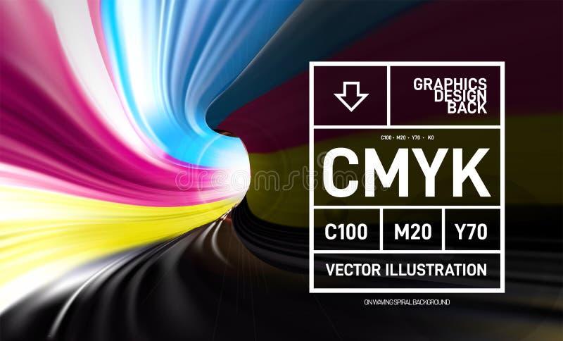 CMYK-Farbe in Form eines Wickelfalzrohrs 3D Innere Ansicht Auch im corel abgehobenen Betrag lizenzfreie abbildung