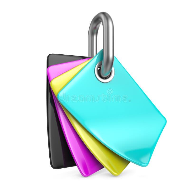 CMYK-Farbpalette auf Kettenglied 3D stock abbildung
