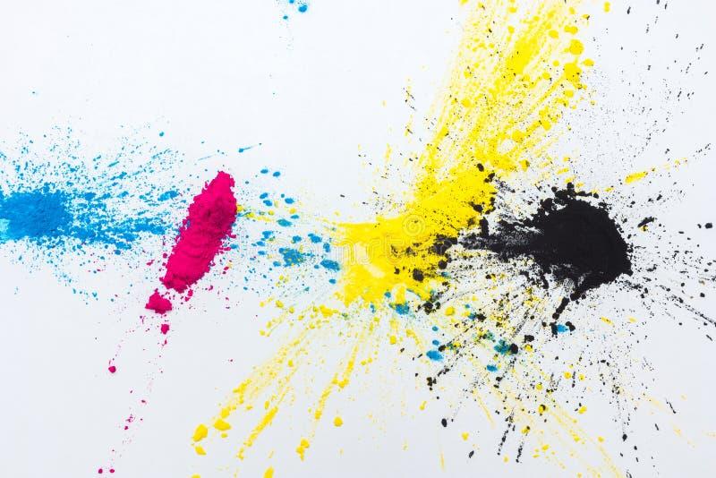 CMYK-Farbtoner für cyan-blaues magentarotes Gelb des Druckers stockfotografie