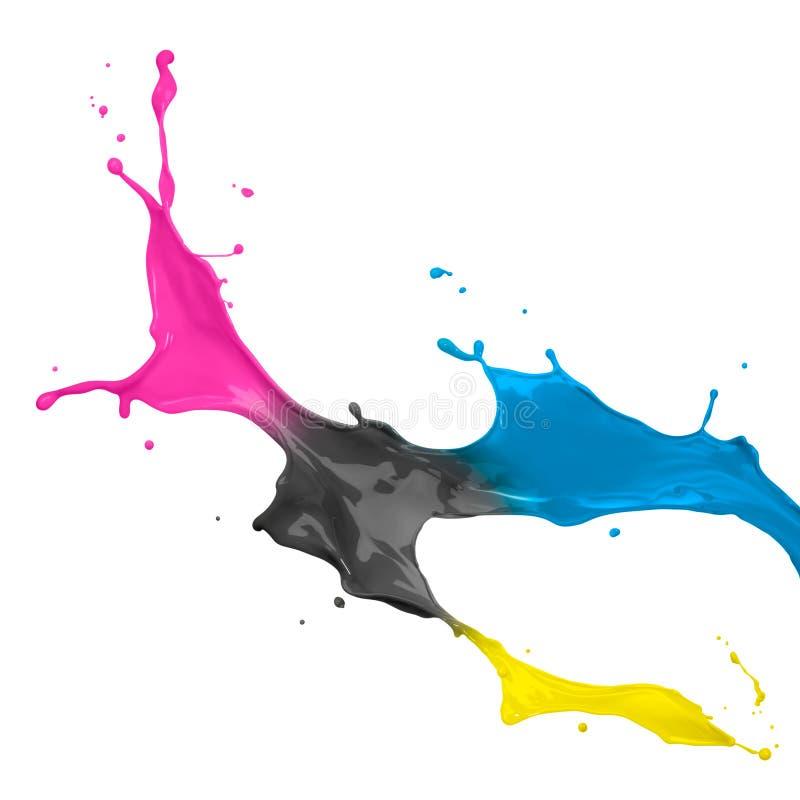 cmyk farby pluśnięcie obrazy stock