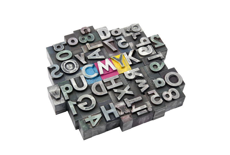 Cmyk fez das letras do metal fotografia de stock royalty free