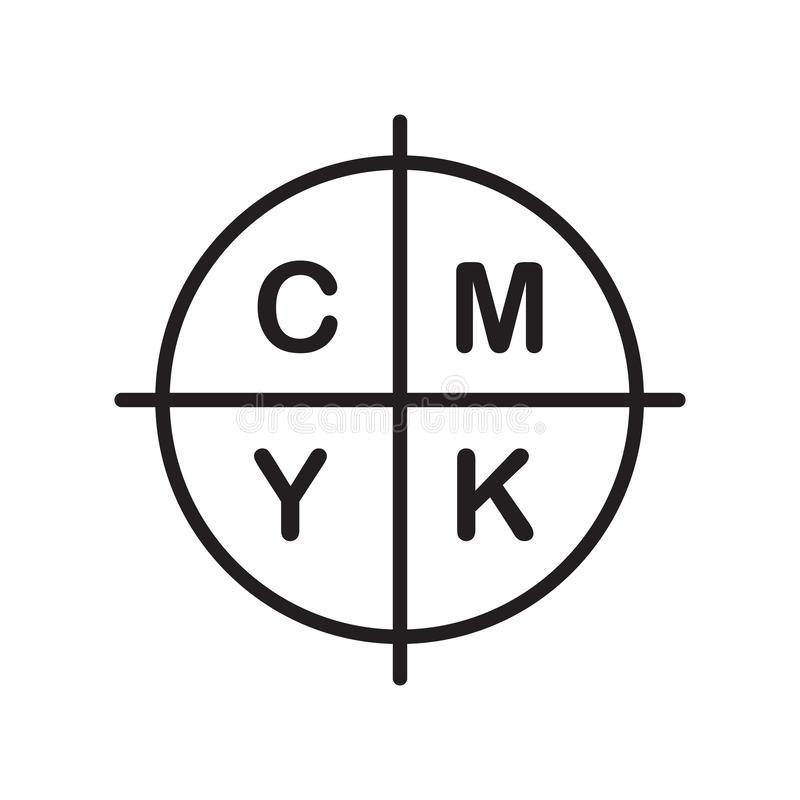 Cmyk icon vector isolated on white background, Cmyk sign , line royalty free illustration