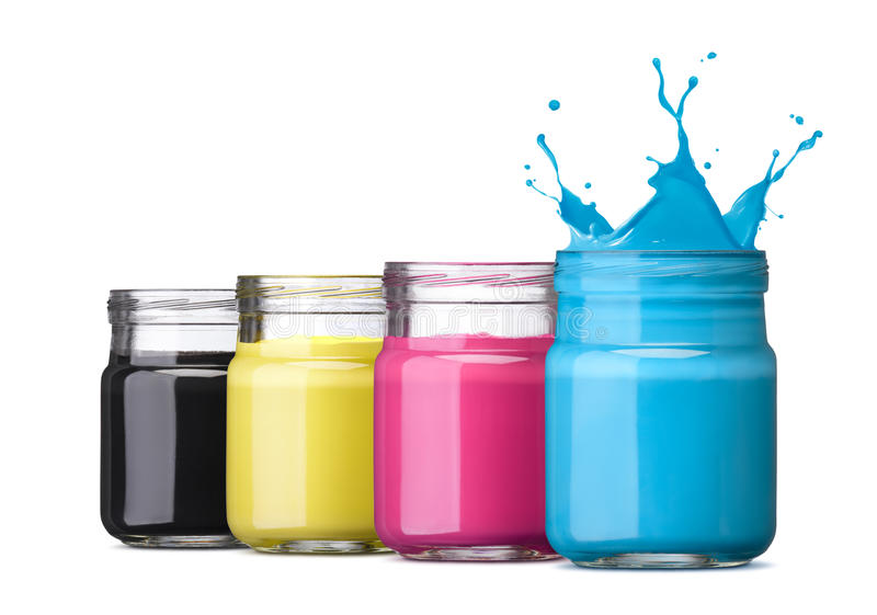 Cmyk ink. Bottles of ink in cmyk colors, cyan with splash