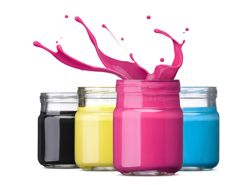 Cmyk ink. Bottles of ink in cmyk colors, magenta with splash