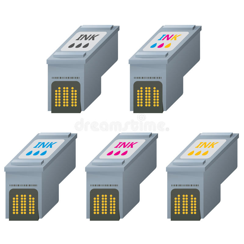 CMYK ink cartridges in isometric. royalty free illustration