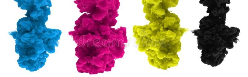 CMYK-inkt-dalingen op een witte 3D achtergrond - geef terug stock afbeeldingen