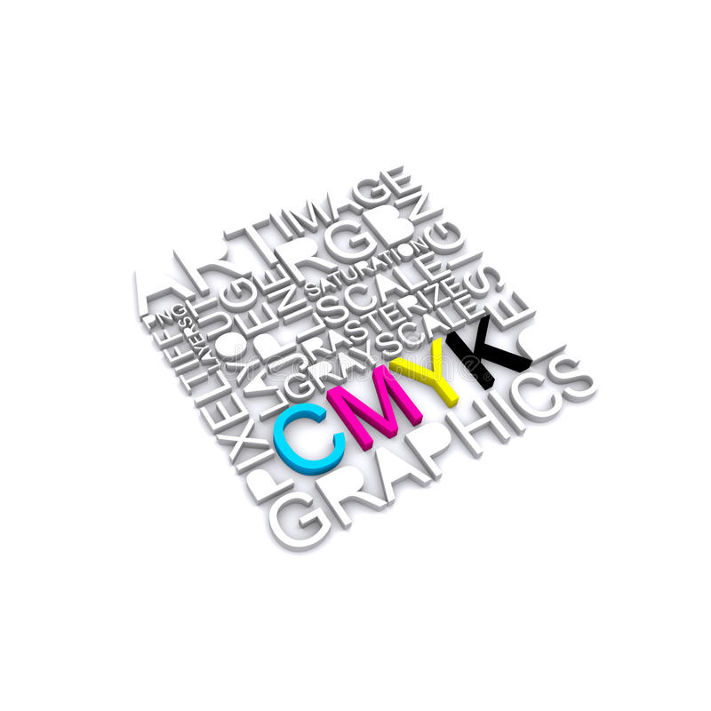 cmyk letters stock illustration