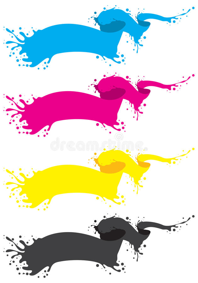 Cmyk liquid banner stock illustration