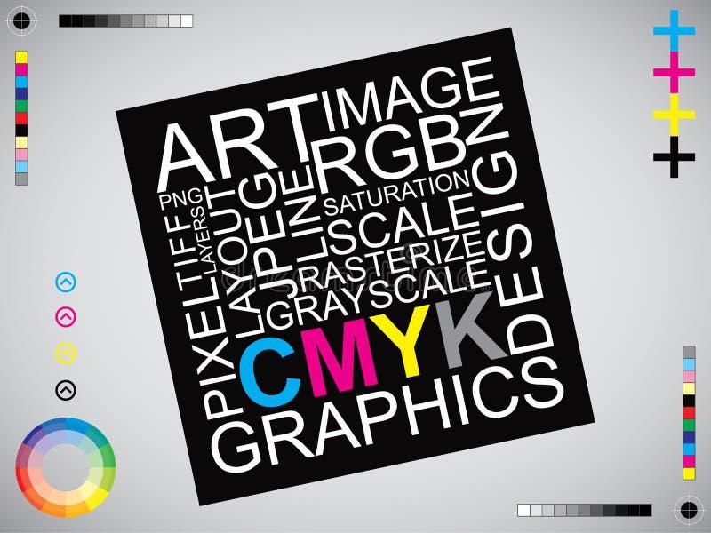 CMYK listów projekta sztuki wizerunek ilustracja wektor