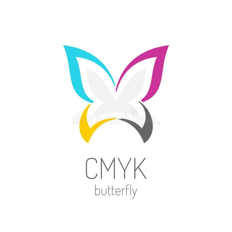 CMYK loga motyli szablon royalty ilustracja