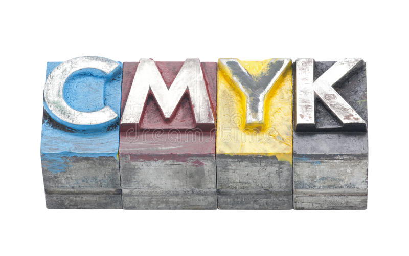 Cmyk made from metal letters stock image