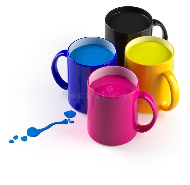 Download CMYK mugs stock illustration. Image of java, design, blotch - 14677893