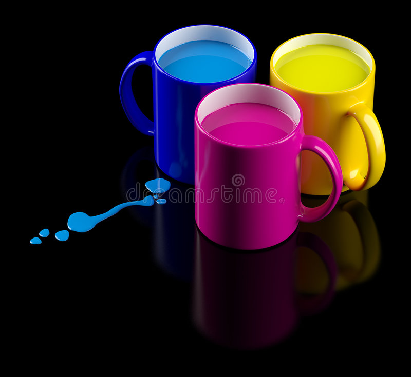 Download CMYK mugs stock illustration. Image of saturated, object - 9090812