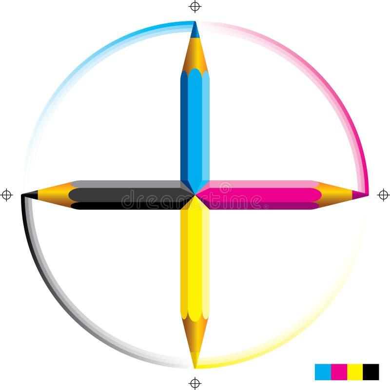 cmyk ołówki ilustracja wektor