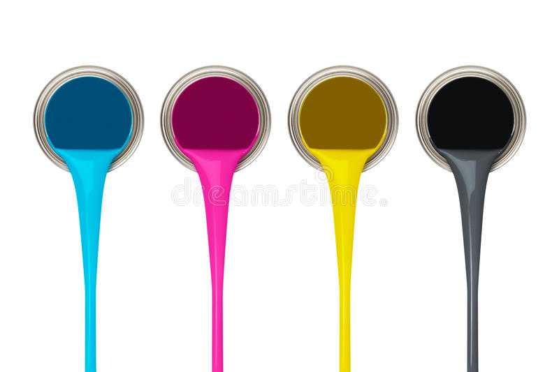 CMYK Paint. Pouring paints of CMYK colors from its buckets