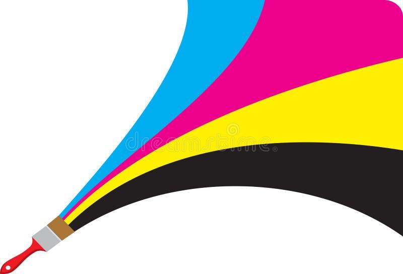 Cmyk paint logo. Illustration art of a cmyk paint logo with isolated background stock illustration
